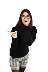 Attractive smile laugh young woman, pointing her finger