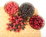 different fresh berries: raspberries, currant, dogwood berries