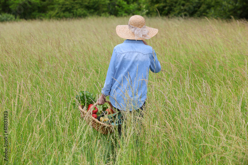 woman with vegetable basket