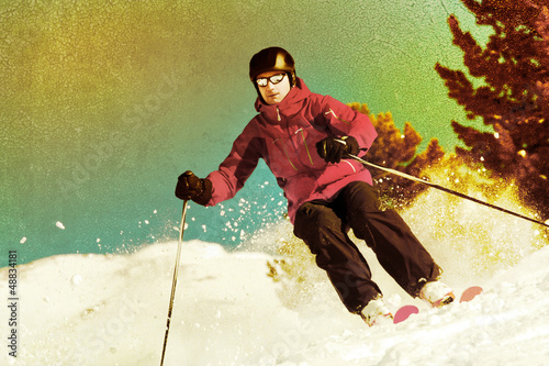 Backcountry skier retro styled
