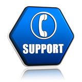 support and phone sign in hexagon button