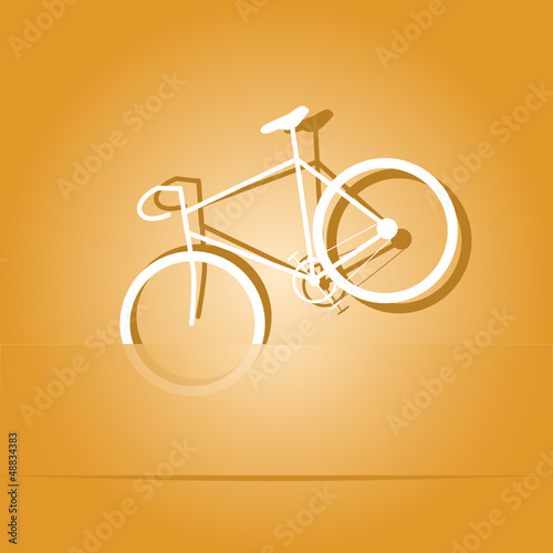 Bicycle. Paper sticker as bookmark. Vector illustration.