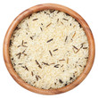 Rice grain uncooked in wooden bowl, isolated