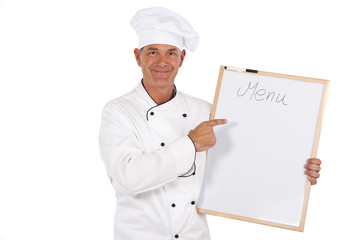 Chef preparing menu