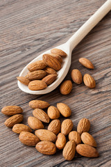 Almonds with a wooden spoon III