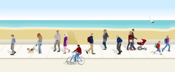 Gente paseando con el mar de fondo