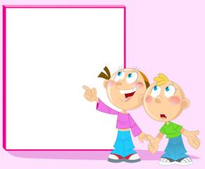 Boy and girl near blackboard