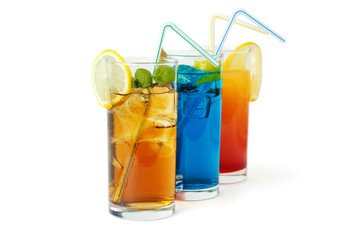 Three famous long drinks, isolated with shadow