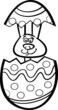 bunny in easter egg cartoon for coloring