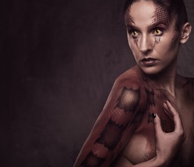 Woman with snake body-art