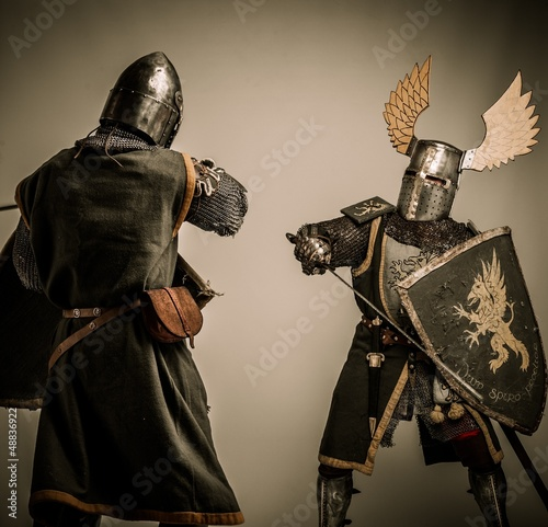 Fight between two medieval knight