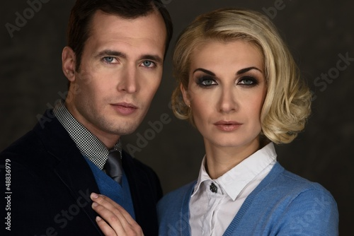 Portrait of well-dressed elegant couple