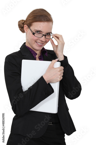 Young businesswoman with playful smile