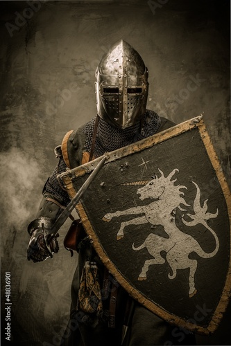 Poster Medieval knight with sword and shield against stone wall