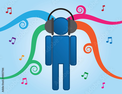 Person icon listening to music through headphones