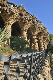 Modernist architecture in barcelona. Park Guell by Antonio Gaudi poster
