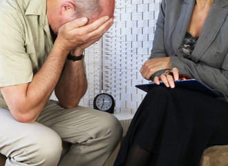 Distressed patient in counselling session