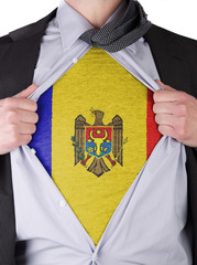 Business man with Moldavian flag t-shirt