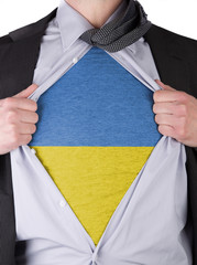 Business man with Ukrainian flag t-shirt