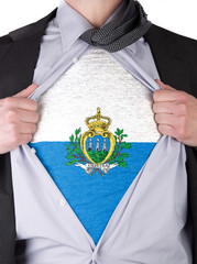 Business man with San Marino flag t-shirt