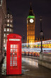 London Telephone Box with Big Ben & Bus Trails