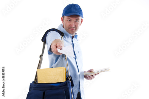 Mailman delivering mail
