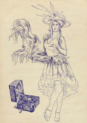 Vaudeville artist dancing - hand drawing
