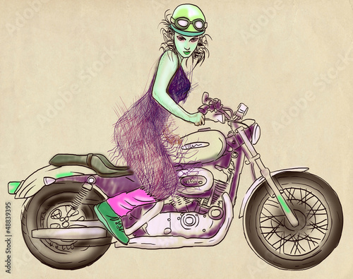 Vintage theme: Woman posing on a powerful motorcycle - 48839395