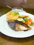 yellowfin tuna steak with vegetables rice poster