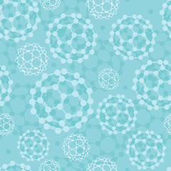 Vector buckyballs seamless pattern background with hand drawn
