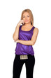 ttractive woman with a purple t-shirt