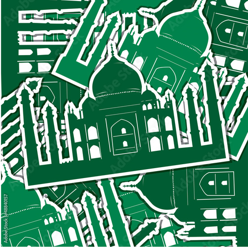 Taj Mahal sticker card/background in vector format.