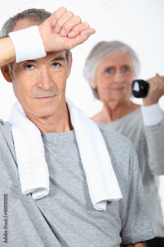 Elderly couple in the gym