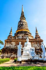 Buddhist temple ruins, Wat Yai Chaimongkon in Ayutthaya, Thai