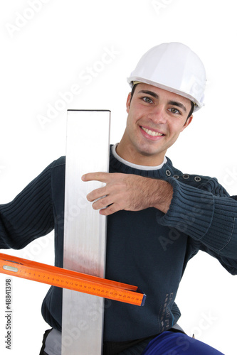 Worker with spirit level