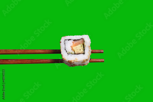 California roll on chopsticks