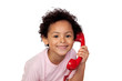 Latin child with red phone