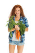Beautiful woman with fresh carrots