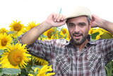 a farmer in a sunflowers field