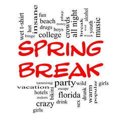 Spring Break Word Cloud Concept in Red Caps