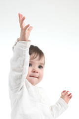 Baby with a hand up