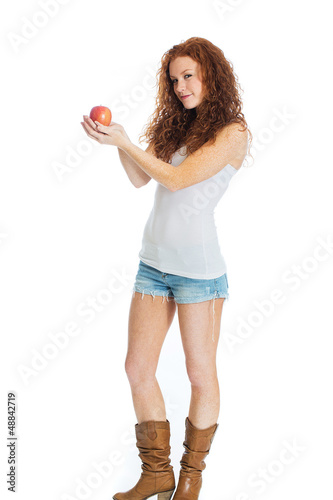 sexy woman holding an apple