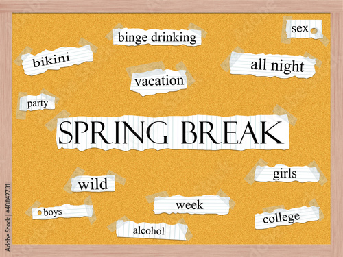 Spring Break Corkboard Word Concept