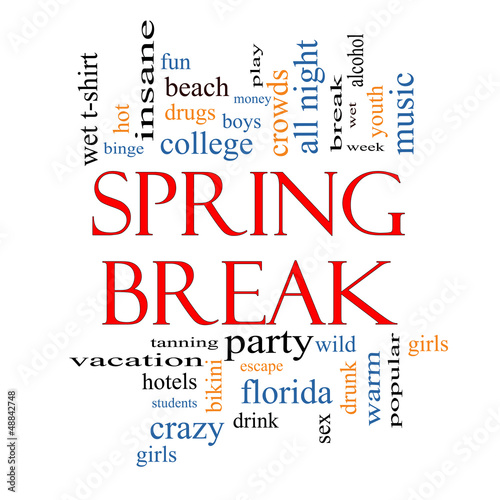 Spring Break Word Cloud Concept