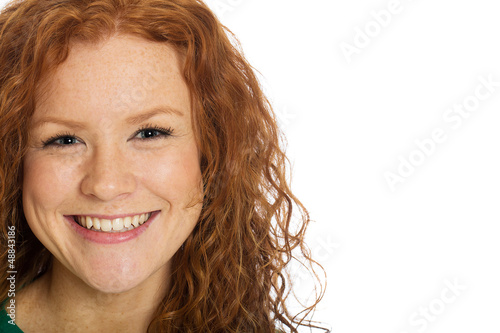 pretty woman with red hair and freckles