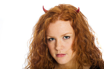 red haired devil girl