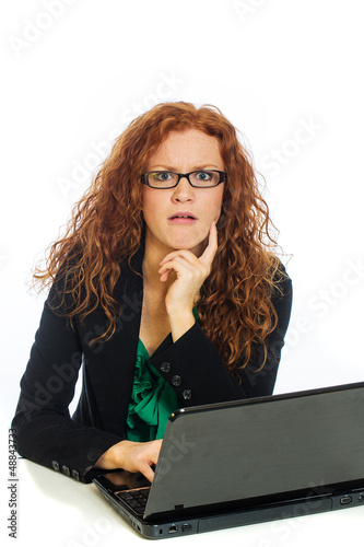 funny woman on laptop computer