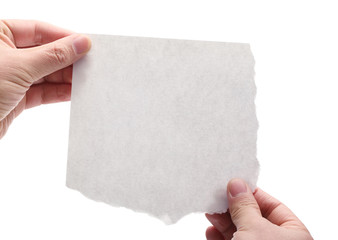 hand holding a piece of blank paper