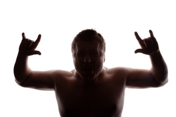 man portrait silhouette screaming angry