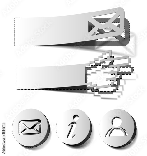 email, inormation, user stickers & labels design